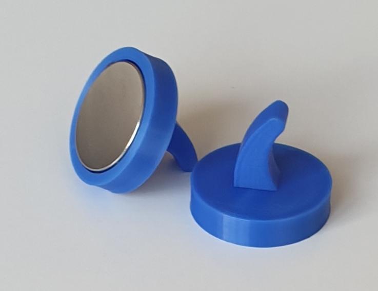 grau 5 x Neodym-Magnethaken mit Kunststoffgeh/äuse rund 25mm