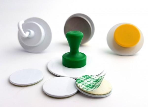 Metallscheibe weiß, selbstklebend Gegenstück für Magnete