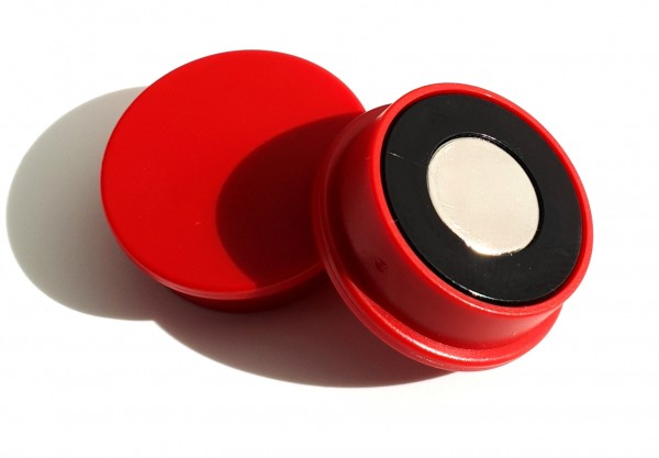 Organisationsmagnet mit Neodym, 30mm, rot