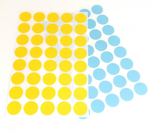 Markierungspunkte blau, gelb, selbstklebend