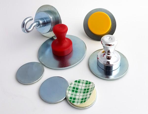 Metallscheibe verzinkt, selbstklebend Haftgrund für Magnete